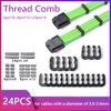 24pcs/lot 6/8/24 Pin Cable Comb Organizer Clamp for 3.0-3.6mm PC Power Cables Wiring Winder Acrylic Cord Management Clamp