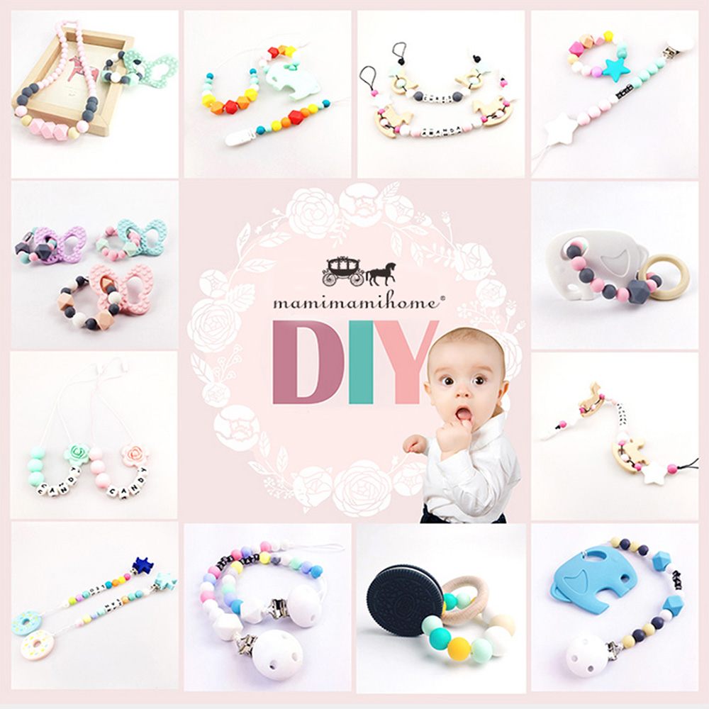 Let's Make Pacifier Clip 50pc Natural Maple Wooden Baby Holder Teether Teething Universal Dummy Chain Clip For Baby Kids Teether (big size)