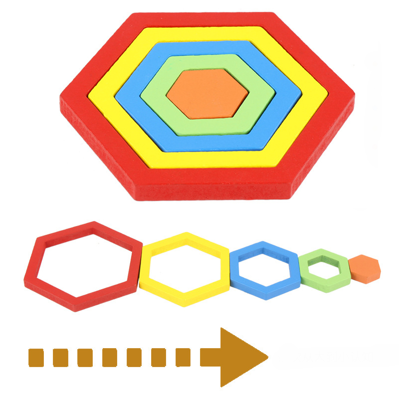 Wooden Geometric Shape Puzzle Kids Montessori Toys Educational Shape Cognition Children Jigsaw Puzzle Board Learning Sensory Toy 5