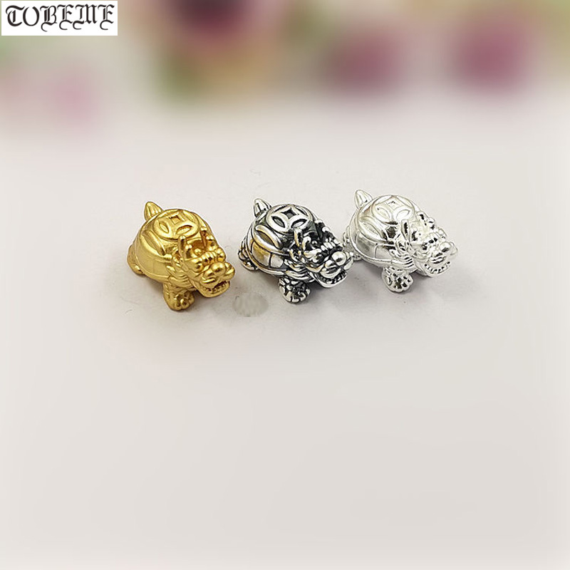 100% 3D 999 Silver Fengshui Wealth-Turtle Beads Pure Silver Good Luck Jewelry Loose Beads DIY Bracelet Beads