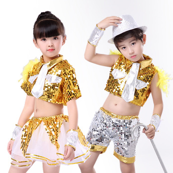 Childrens jazz dance Latin costumes boys and girls sequined hip-hop clothes hip hop kids