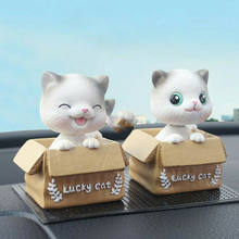 Cute Shaking Head Cat Car Ornament Resin Carton Lucky Kitten Doll Lovely Decor 2Style Open Eyes Squint Smile Cat Home Decoration(China)
