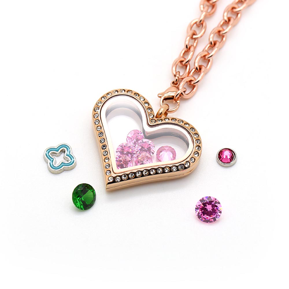 BOFEE Crystal Floating Locket Necklace Pendant Charm Memory Heart Shape Glass Chain 316L Stainless Steel Fashion Jewelry Gift in Pendants from Jewelry Accessories