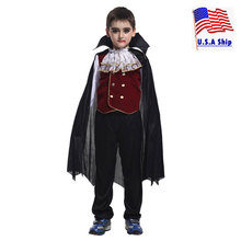 Child Noble Count Dracula Costume Gothic Victorian Vampire Costumes for Boys Halloween Purim Party Carnival Cosplay