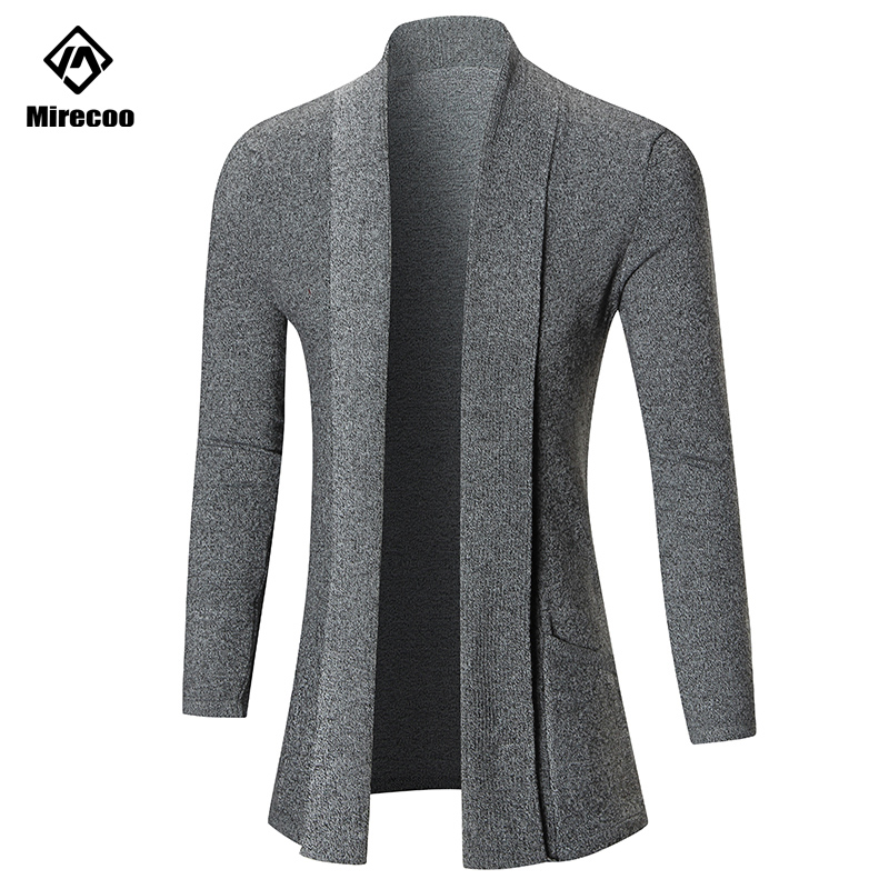 Mirecoo Men Long Sleeve Midi Sweater Black Cardigan Mens Coat Winter Autumn Casual Solid Color Cardigan Male Pull
