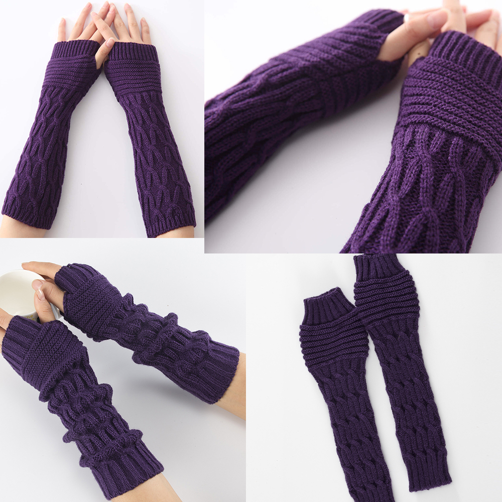 Sparsil Women Fingerless Mittens Stripe Twist Solid Color Warm Knitted Long Glove Autumn Winter Arm Sleeves Wrist Protector 30cm