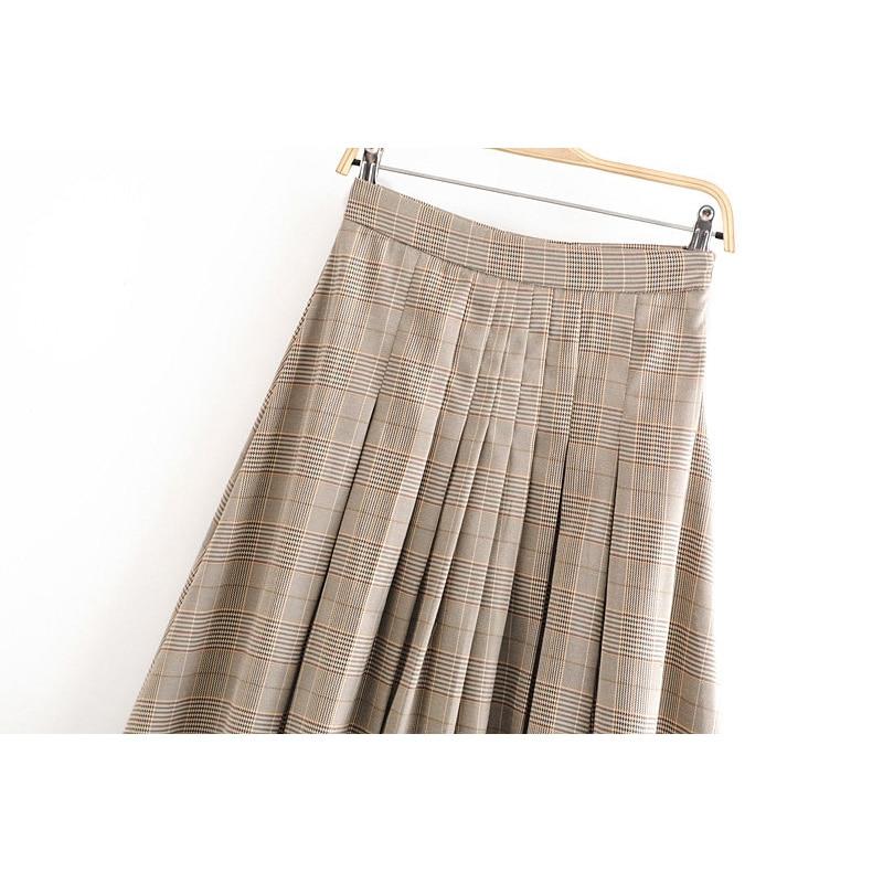 Casual za pleated midi skirt women plaid skirt high waist a-line skirts womens faldas mujer moda 2019