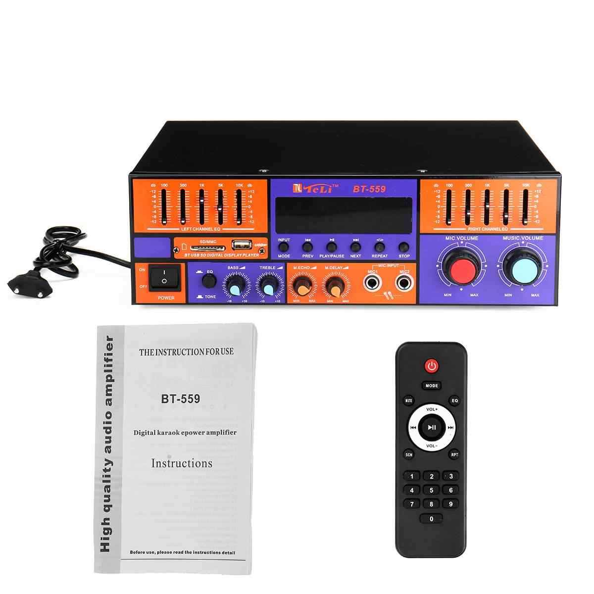 KROAK 3000W Audio Power Amplifier bluetooth Car Digital Stereo Amplifier  HIFI USB FM with Remote Control 2 Channels Amplifiers Stereo Amplifiers