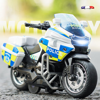 1:14 Motorcycle model Die-casting motorcycle music Police Die Cast Vehicles Collectible Pull Back Car Toys Boy Gift 1