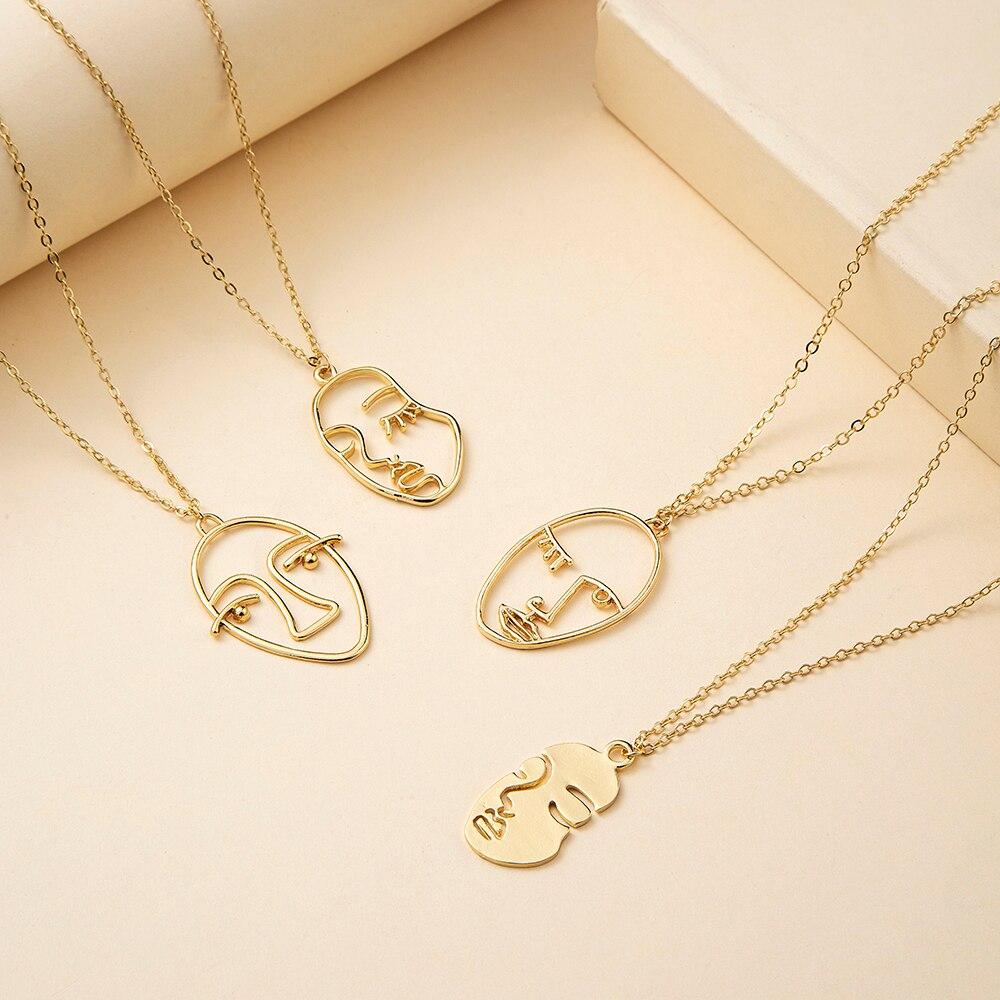 VG 6YM панк человека уход за кожей лица, кулон, ожерелье для женщин в стиле ретро абстрактный заявление золотой уход за кожей лица ожерелье мод...