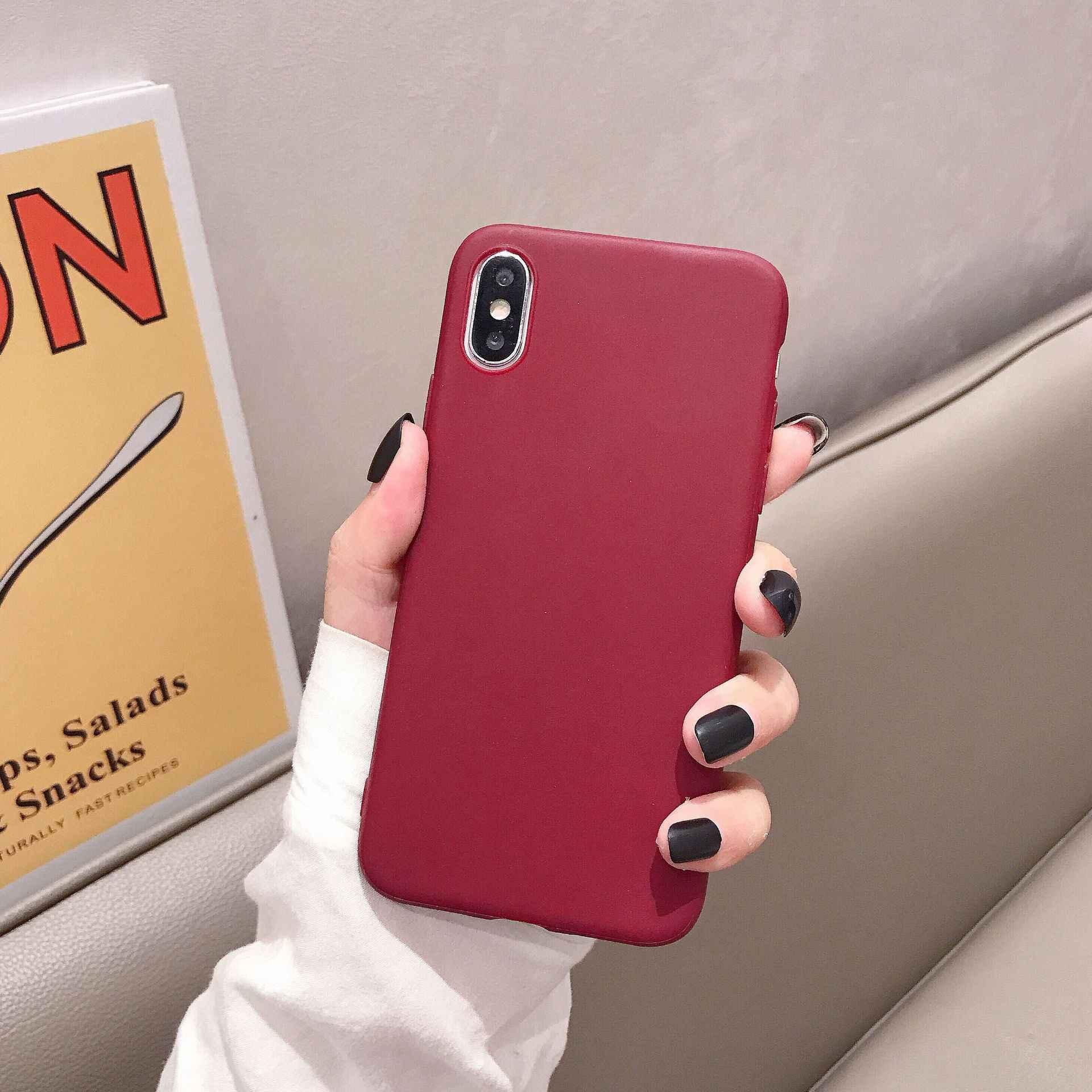 יוקרה מקרה טלפון עבור iPhone 11 פרו 7 6 6s 8 X בתוספת XR XS מקס פשוט מוצק צבע רך TPU מקרה צבעים בוהקים חזרה כיסוי