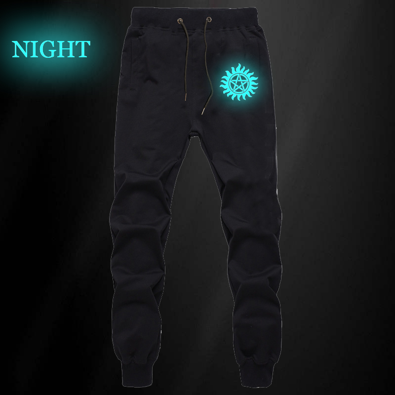 Supernatural Winchester Bros Luminous Pants Autumn Winter Mens Casual Joggers Fitness Long Trousers Workout Sweatpants Plus Size