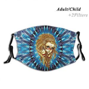 Этнический стиль для девочек, Священная геометрия, Фрактальный узор, художественный дизайн, для взрослых, детей, моющаяся забавная маска для лица с фильтром, Северо-Западный Тихий океан