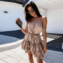 Sexy Spaghetti Strap Ruffle Solid Sleeveless 2020 Summer Women Dresses Loose A Line Mini Holiday Beach Dress Sundress Robe