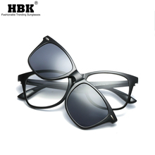 HBK TR90 Clip on Polarized Sunglasses Men Magnetic Clips Eyeglasses Magnet Optical Myopia Glasses Frame UV Protection Goggles