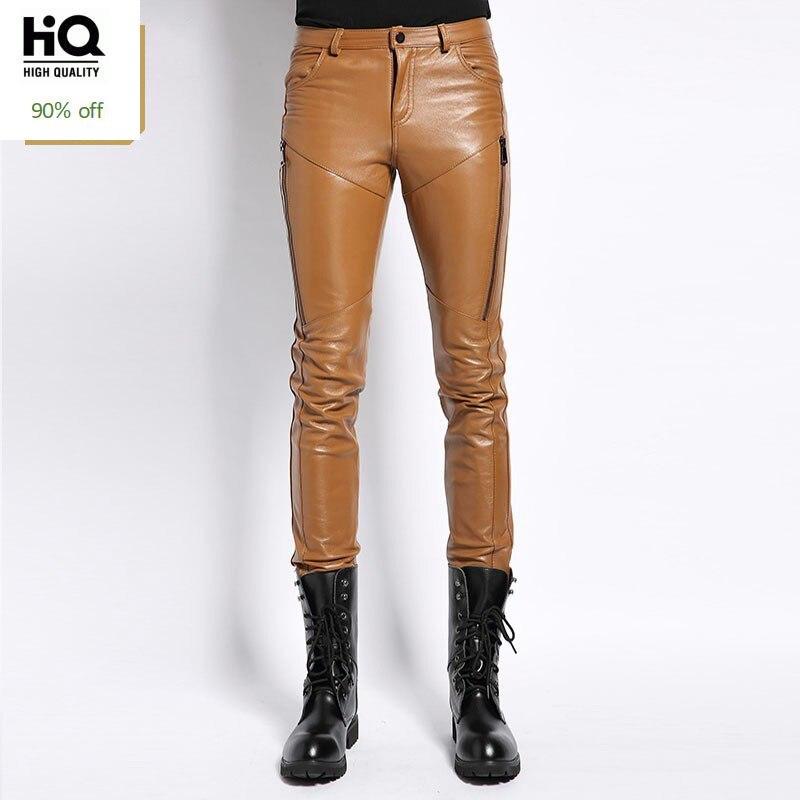 Sheepskin Real Leather Mens Pants 2020 New Fashion Casual Skinny Slim Full Length Trousers Motorcycle Soft Masculina Pantalon
