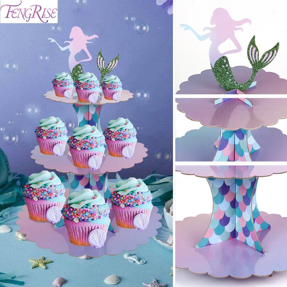 Cake Stand Tableware Cup Plate Little Mermaid Supplies Mermaid Birthday Party Decor Kids Girl Mermaid Party Decoration Mermaid