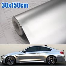 Accesorio para coche, 30x150CM, satinado, cromado, metálico, plateado, película de vinilo, adhesivo, sin burbujas