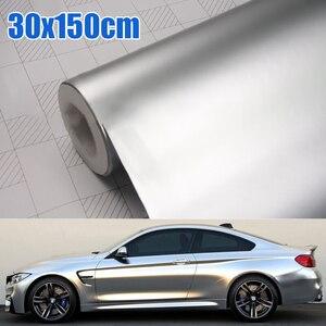 Image 1 - Auto zubehör 30*150CM Satin Matte Chrome Metallic Silber Vinyl Film Wrap Aufkleber Blase Freies