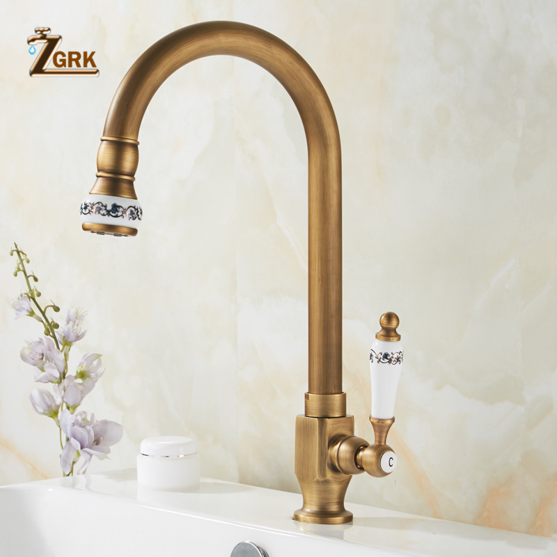 ZGRK Cold Kitchen Sink Faucet Antique Bronze Finished 360 Degree Single Hole Water Tap Cooper Kitchen Tap