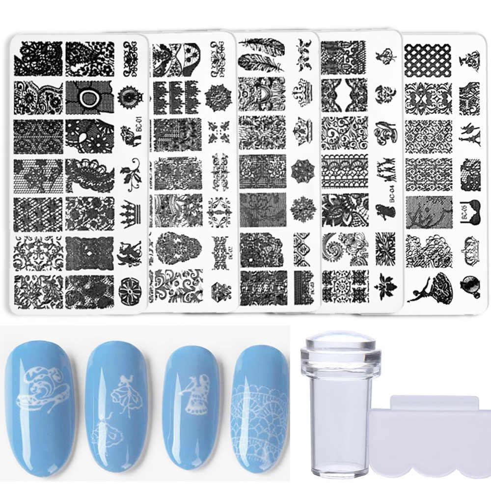 Nail Art Stamper Kit 5Pcsดอกไม้เกล็ดหิมะเกล็ดหิมะแสตมป์สัตว์รูปแบบภาพแม่แบบClear Stamper Scraperตกแต่ง