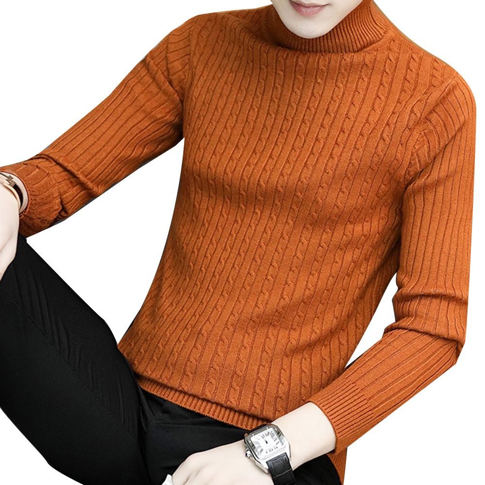 Fashion Winter Chic Men Solid Color Turtleneck Long Sleeve Knitted Sweater Bottoming Top Acrylic Sweater Standard Wool  M-3XL 3