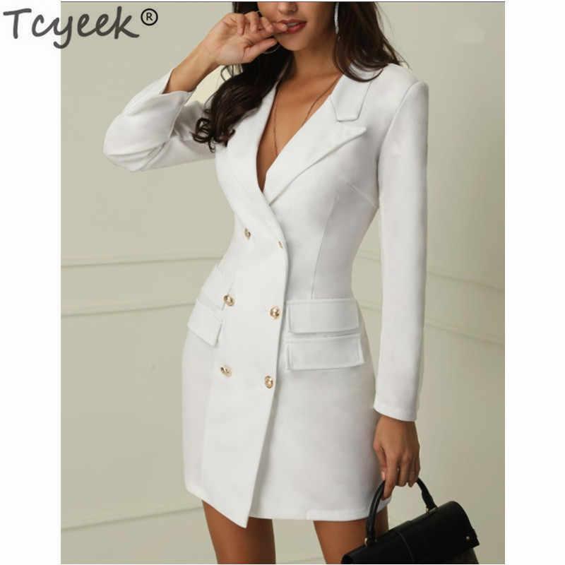 Wiosna elegancka sukienka kobiety czarna biała sukienka podwójnie jednorzędowy garnitur sukienki Bodycon Mini sukienki Vestidos Verano LWL1729