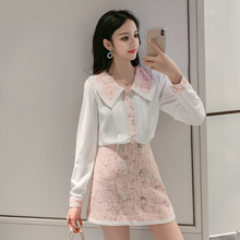 2020 Autumn Elegant Women 2 Piece Set Tweed Patchwork Chiffon Shirt Top + Double-Breasted Woolen Mini Skirt Suit DG645(China)