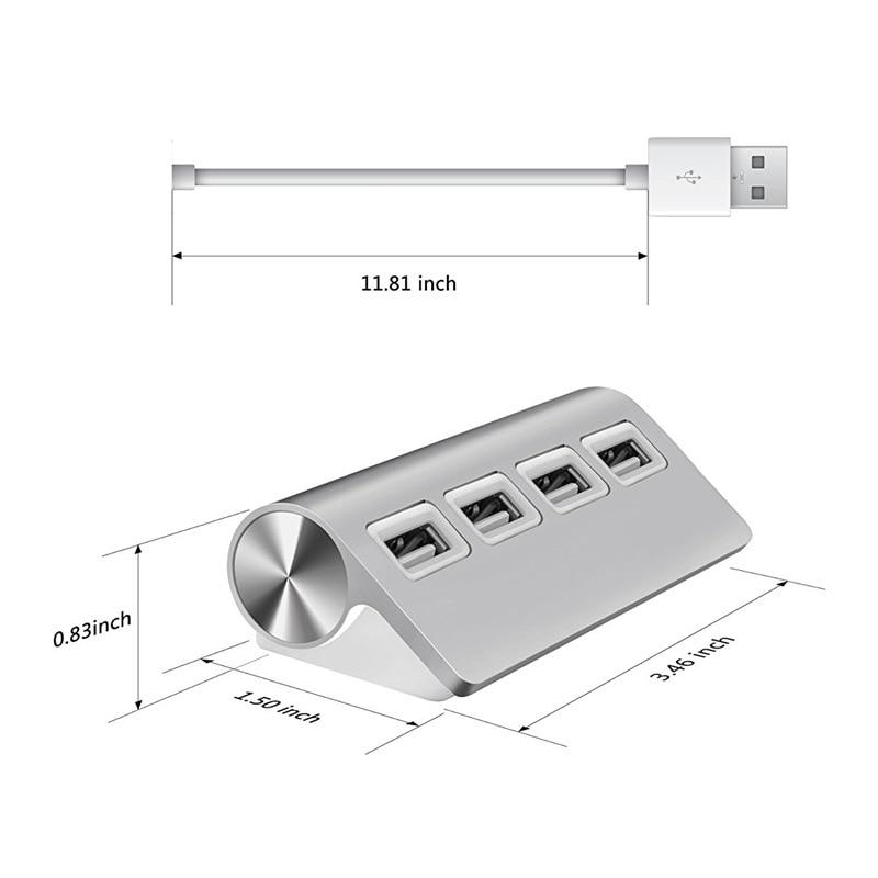 USB HUB, Premium 4 Port Aluminum USB Hub with 11 inch Shielded Cable for iMac, Mac Books, PCs and Laptops-1