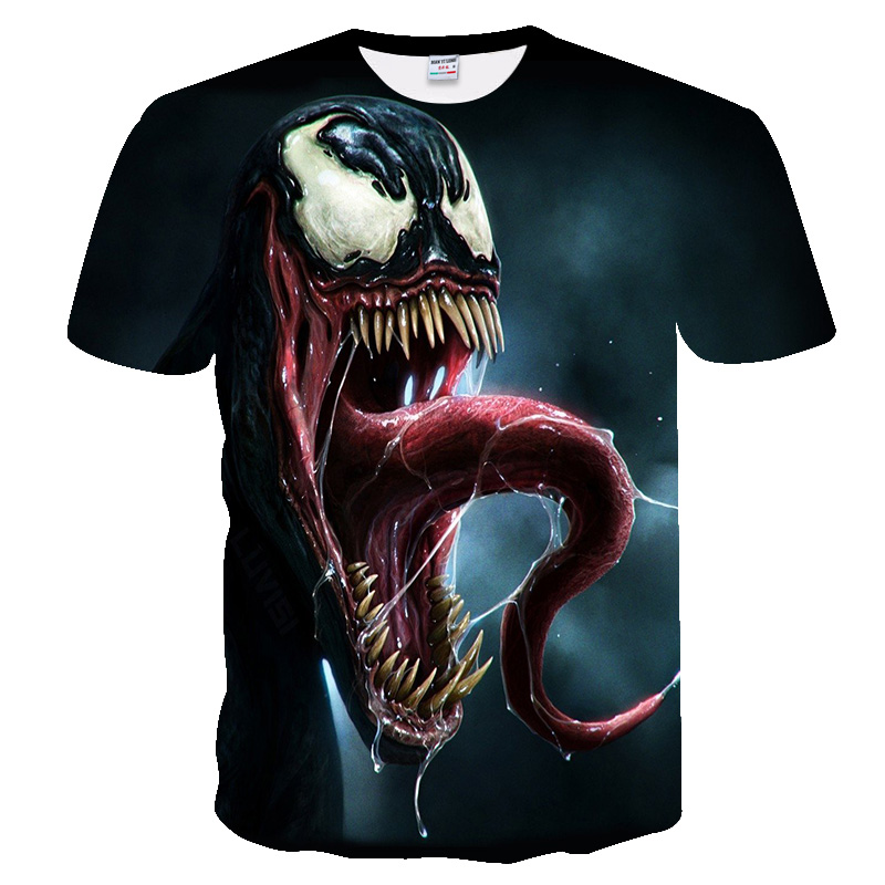 Horror Pattern Venom Marvel 3D Printed T-shirts For Men Women Summer Funny Casual Clothes O-Neck T-Shirt Black Loose Tees