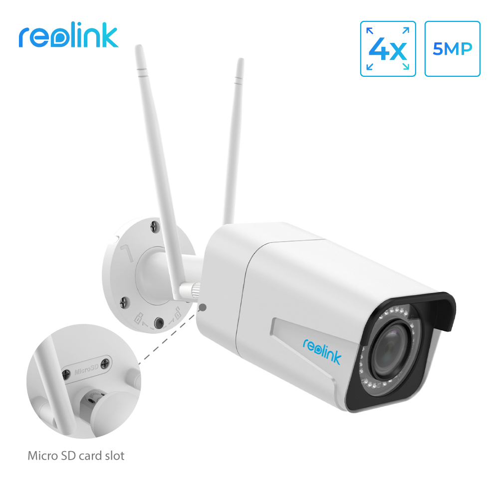 Reolink wifi camera 5MP Bullet 2.4G/5G 4x Optical Zoom Built in Microphone SD Card Slot Night vision outdoor indoor use RLC 511W|ip camera|bullet ip camera|security camera 5mp - title=