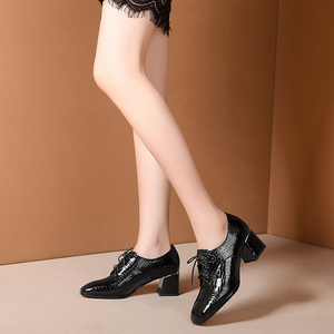 Image 5 - Женские летние туфли на высоком каблуке; модные туфли лодочки из натуральной кожи; весенние туфли на толстом каблуке; женские туфли на каблуке с квадратным носком и шнуровкой; 2020