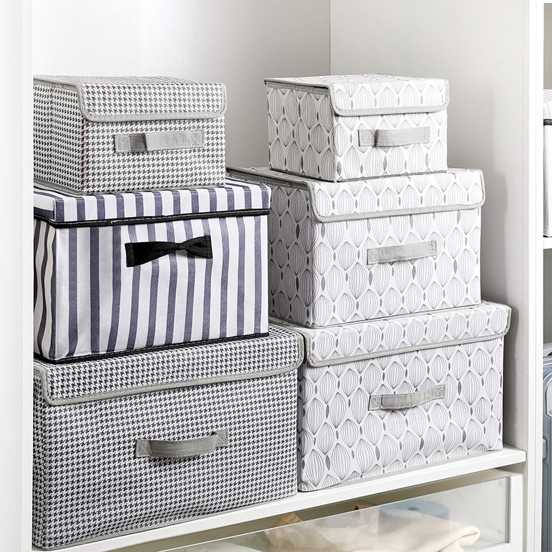 New large Cube Non-Woven Folding Storage Box For Toys Organizers Fabric Storage Bins With Lid Home Bedroom Closet Office Nursery(China)
