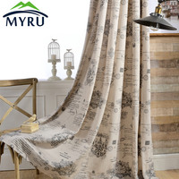 MYRU Modern Cotton and Linen Cloth Curtain Protection Printing Window Curtain for Bedroom and Living Room