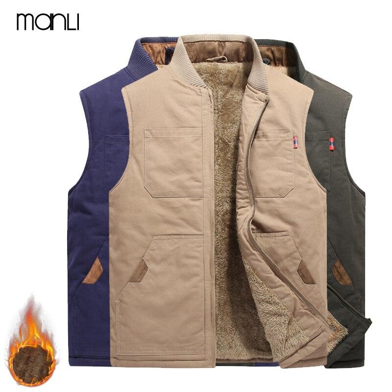 MANLI Winter Jackets Men's Outdoor Camping Trekking Sleeveless Vest Winter Fur Multi-pockets Warm Coat Waistcoat Hombre