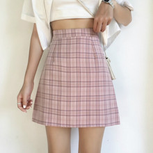 Summer Plaid A-line Short Skirt High Waisted Preppy Mini Plaid Summer Skirts Pink Ivory(China)