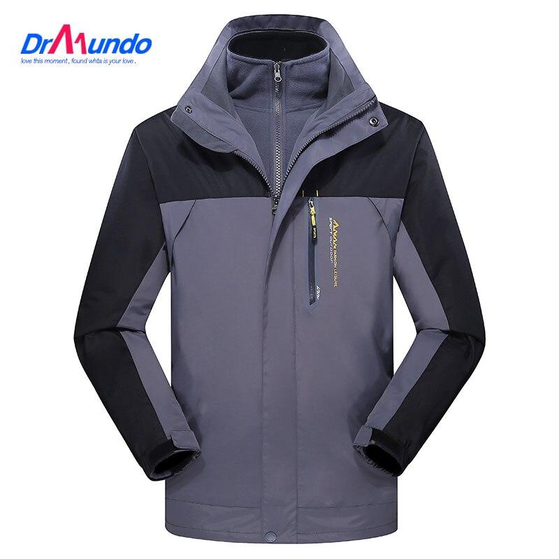 Men ski jacket  Mountain Hiking Jacket Waterproo Thermal Plus Size Fleece Outdoor Male Snow Camping  Jacket Windproof Coat