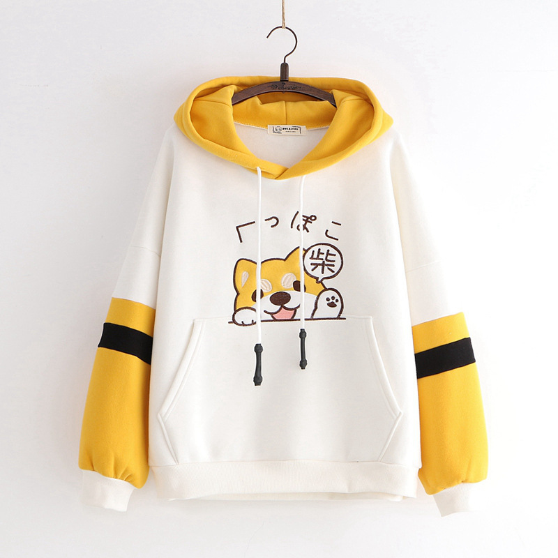 Winter Japanese Kawaii Women Hoodies Harajuku Animal Graphic Warm Clothes Sweet Yellow Hoodie Cute School Girls Hat Sweatshirt
