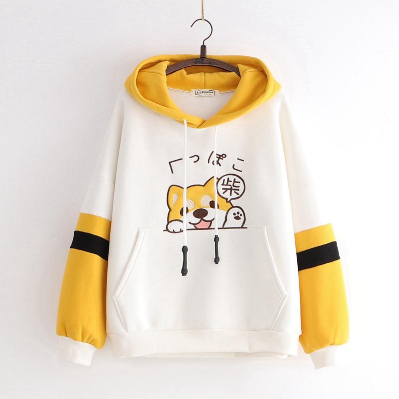 Winter Japanese Kawaii Women Hoodies Harajuku Animal Graphic Warm Clothes Sweet Yellow Hoodie Cute School Girls Hat Sweatshirt