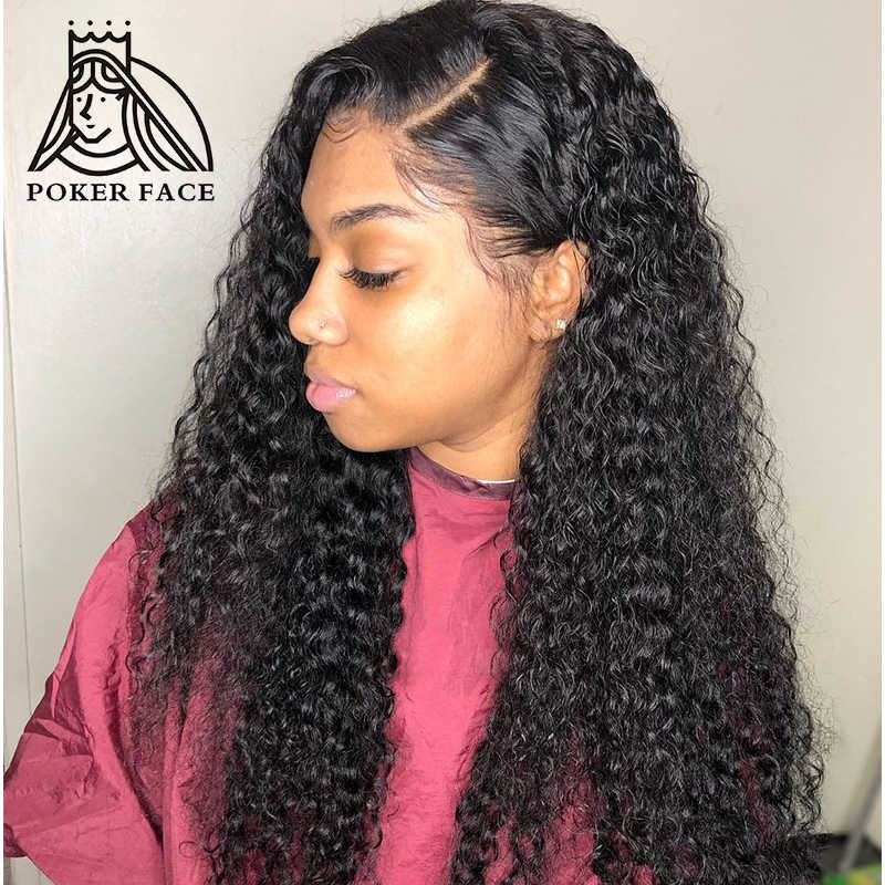Poker Face 8-30 inch Long glueless 13x6 Curly Lace Front Human Hair Wigs pre plucked Brazilian Deep Wave Frontal Wig Water Wave
