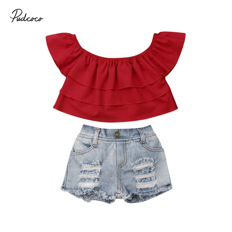 Shorts 2PC Set Baby Girl Kids Summer Toddler Outfits Clothes T-shirt Ruffle Top