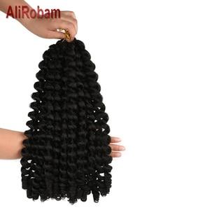Image 2 - AliRobam Crochet Braids Short Jamaican Bounce Hair Black Wand Curl Black Woman Synthetic Braiding Hair Extensions 20 roots/pack
