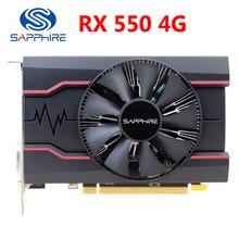 Placa de vídeo gddr5 da safira rx550 4gb placas gráficas para amd rx 500 séries rx 550 4g d5 radeon RX550-4GB displayport hdmi dvi usado
