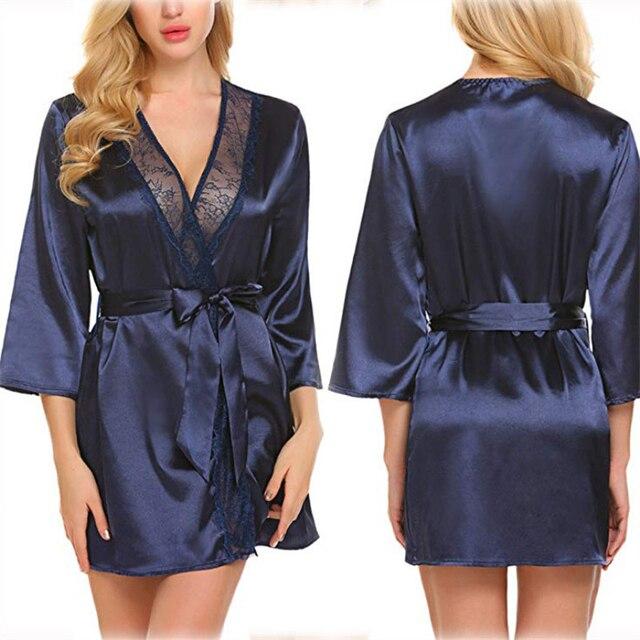 Sexy femme dentelle Kimono Yukata Style japonais 5 couleurs solide robe de pyjama Oriental intérieur vêtements de loisirs élégant Spa peignoir