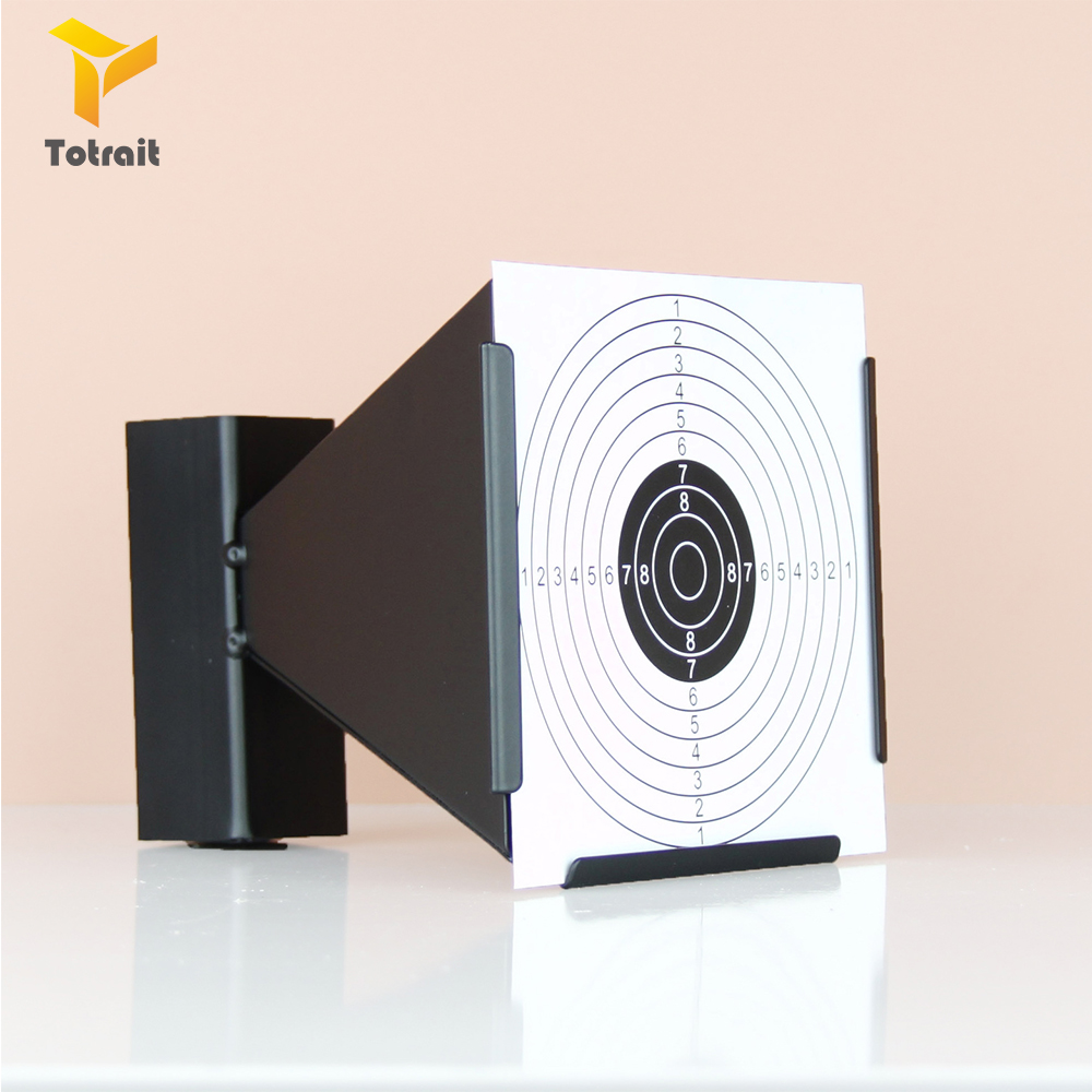 TOtrait 14cm Funnel Air Rifle Shooting Target Holder and 20pcs paper Funnel Pellet Trap Replacement Targets Holder black