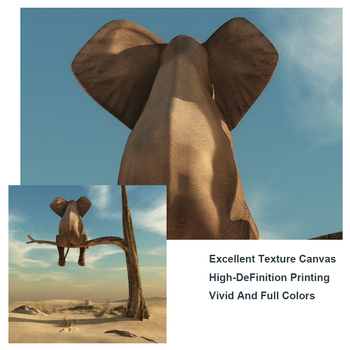 Elephant Sits On Tree Branch Surrealism Painting Printed on Canvas 4