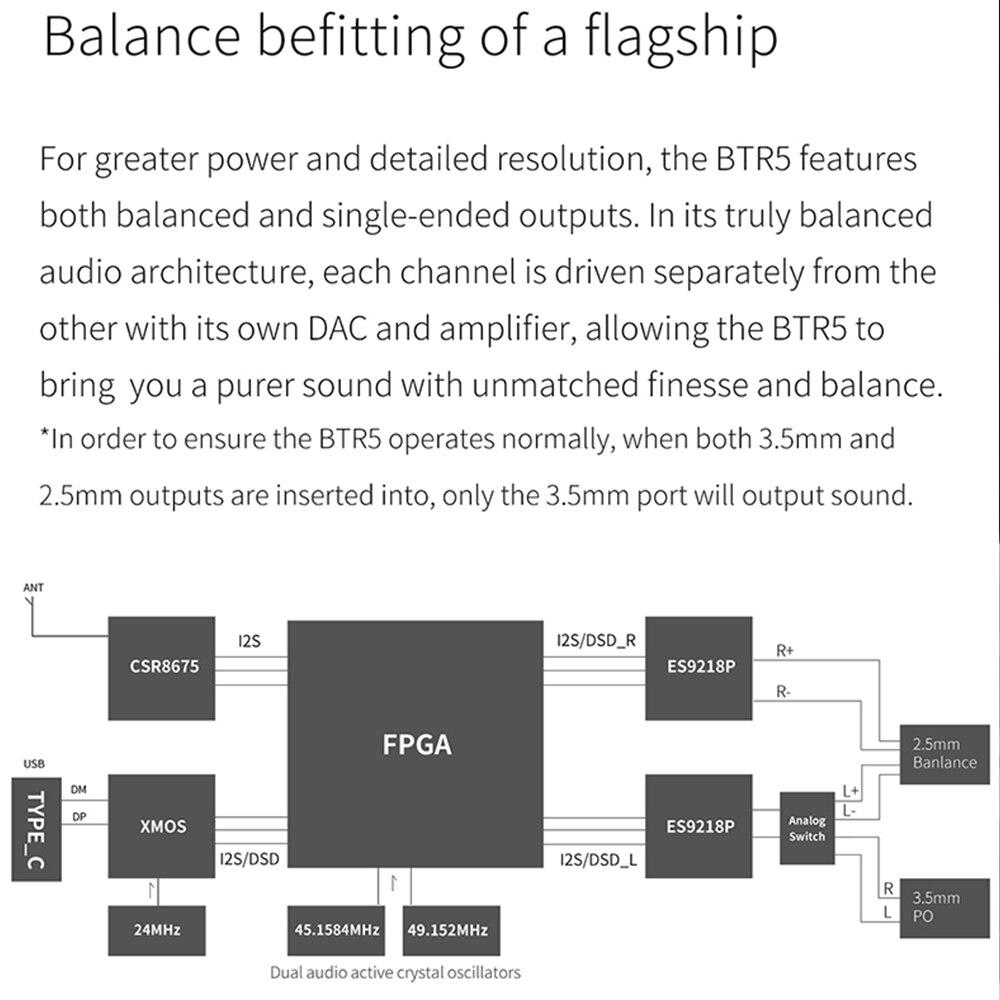 Amplificateur de casque Fiio BTR5 USB DAC Bluetooth 5.0 ES9218P CSR8675 embauche 3.5mm 2.5mm équilibré AAC/SBC/aptX/aptX LL/aptX H/LDAC - 4
