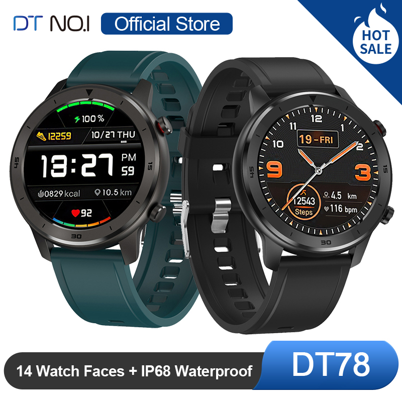 DT NO.1 DT78 Round Smart Watch Smartwatch Bracelet Fitness Activity Tracker Men Women Wearable Devices Band Heart Rate Monitor