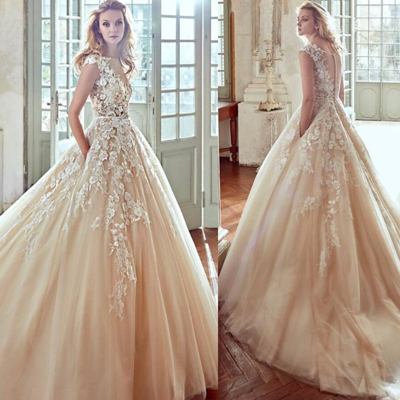 Wonderful Tulle Wedding Dress Scoop Neck Lace Appliques Bridal Gown Back Button With Belt Vestidos De Novia 2019 Wedding Gowns