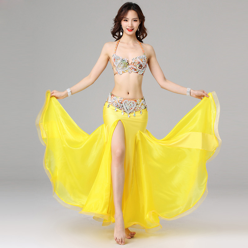 2019 Women Egyptian Dance Clothes Women Beaded Outfit Cup 34B/36B/38B Oriental Belly Dance Costume Set Bra Belt Skirt Yellow